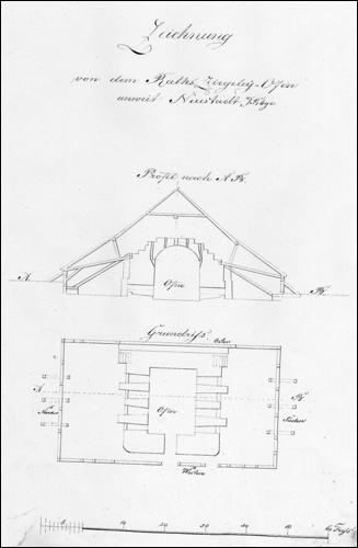 Historische Zeichnung des Brennofens der Ratsziegelei.
