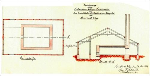Pläne der Ratsziegelei -Antragszeichnungen zum Neubau eines Dachsteinofens 1886 (NRÜ II 1347)