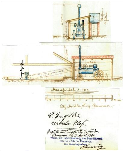 Plan eines Lokomobils. Die industrielle Revolution hält Einzug ins Hannoversche Land.