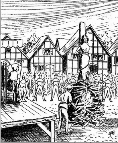 So stellt sich der Zeichner Kaemling die Hexenverbrennungen in Neustadt vor