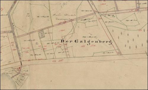 """Die Gemarkungskarte um 1900 zeigt noch den """"Galgenberg"""" an der """"Frielinger Chaussee"""""""
