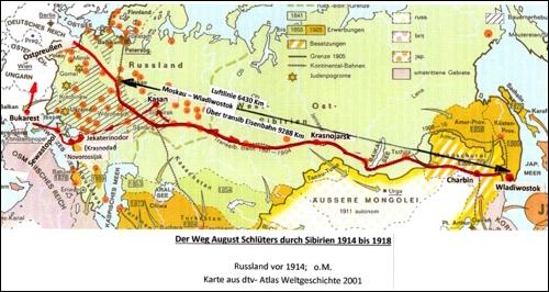 Der Weg des Kriegsgefangenen (1915-1918) August Schlüter durch Russland