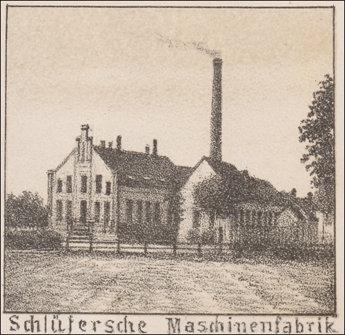 Das Motiv zeigt die Maschinenfabrik der Familie Schlüter. Ansicht um 1900