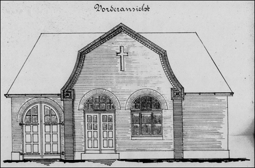 Plan des Nebengebäudes. Es sollte neben einer Remise einen mit 50 cm dicker Isolierschicht ummantelten Eiskeller, auch einen Leichenraum und Sezierraum erhalten. Das Gebäude wurde jedoch nicht gebaut.(RAH NRÜ II 954)