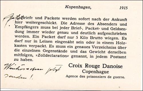 Hinweis des Roten Kreuzes in Kopenhagen. Das Rote Kreuz übernahm die Aufgabe, Gefangenenpost zu überbringen.