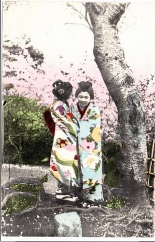 Postkartenmotiv aus der Kriegsgefangenschaft - Japanischer Einfluß in der Mandurschei