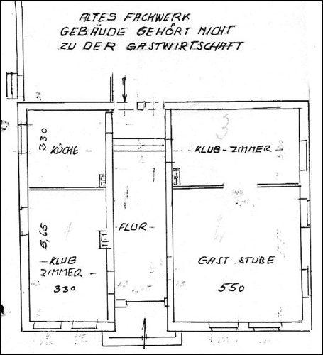 Grundriss des Hauses 1938, (ARH NRÜ II 1440, Nachgezeichnet H. Dyck)