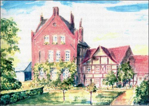 Gasthaus Zur Eisenbahn, um 1945,Aquarell des Neustädter Künstlers Fritz Sackewitz, nach einer älteren colorierten Zeichnung von Hans Bergler (Aus Privatbesitz Scheve)