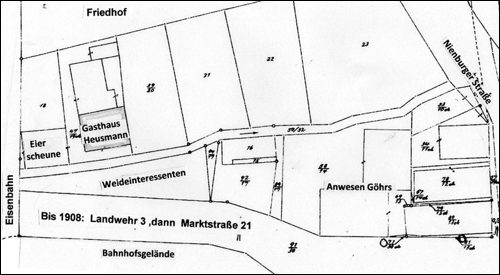 Gemarkungsplan aus den 1880er Jahren: Gasthaus Heusmann in Neustadt am Ruebenberge