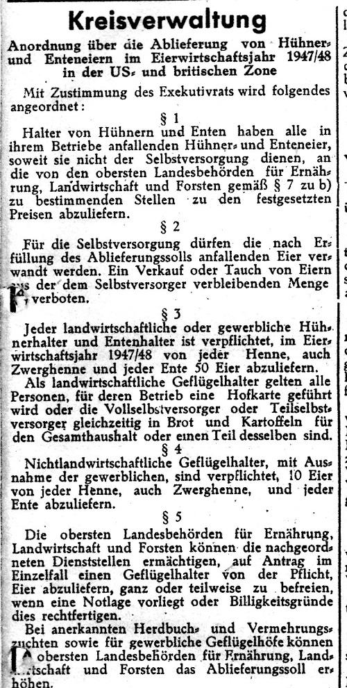 Anordnungüber die Ablieferung von Hühner- und Enteneiern im Eierwirtschaftsjahr 1947/48 in der US- und Britischen Zone