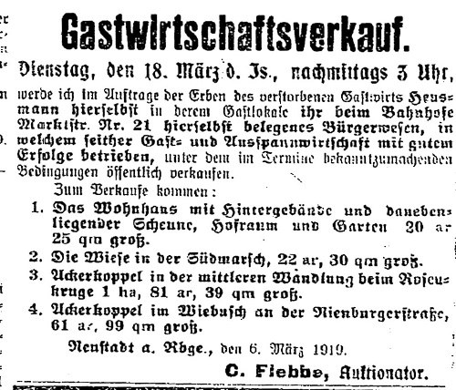 Schon im ersten Weltkrieg wurden unter anderem Lebensmittel unter strengsten Auflagen bewirtschaftet. So auch Eier . (Annonce aus der Leinezeitung von 1919: Gastwirtschaftsverkauf)