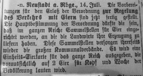 Erlass zum Verkehr mit Eiern (aus: Leinezeitung 1916)