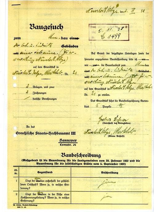 Baugesuch: Bauantrag von 1938