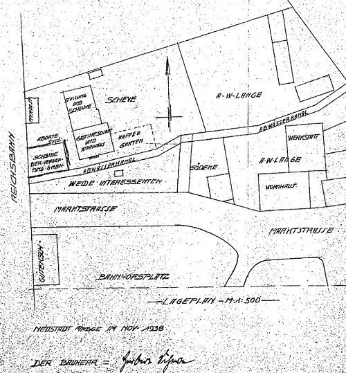 Lageplan der Scheuen von 1938