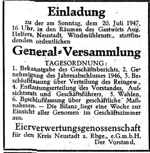 Generalversammlung der Eierverwertungsgenossenschaft (aus: Amtsblatt 11.Juli 1947, Hergt)
