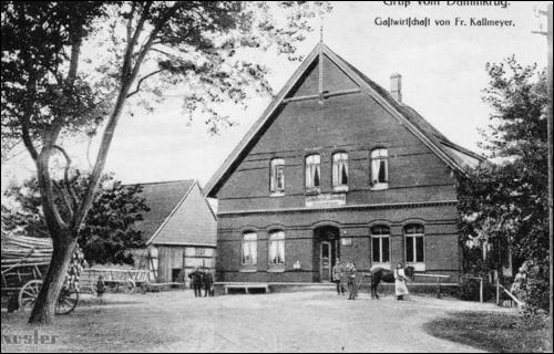 Historische Postkarte: Der Neubau des Dammkrugs durch Friedrich Kallmeyer