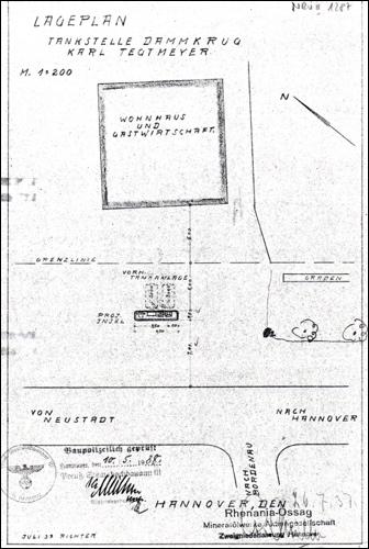 Plan für den Antrag einer Tank-Insel am Dammkrug / Neustadt / Bundesstraße 6.