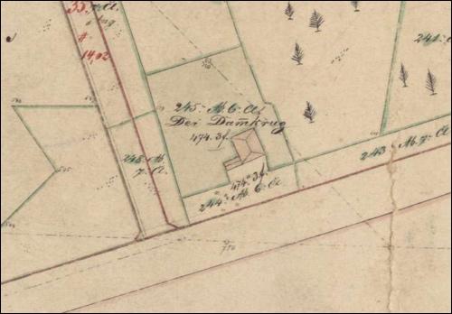 Der Dammkrug in der Karte von 1867/68 zu Rezess von 1888/89. Heute führt hier die Bundesstraße 6 von Hannover nach Neustadt am Rübenberge.
