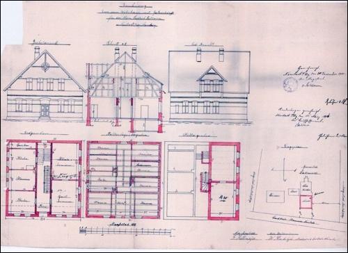 Zeichnung von 1905, Hausbauplan für den Dammkrug:Die Zeichnung erstellte übrigens der ganz junge Bauunternehmer Rahlfs. (Quelle: Stadt Neustadt)