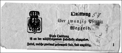 Wegegeldquittung, 19. Jahrhundert(Quelle:Museum zur Stadtgeschichte)