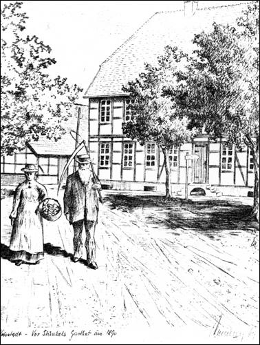 """""""Vor Stünkels Gasthof"""" um 1890 (Zeichnung Kaemling nach einer zeitgenössischenFotografie)"""