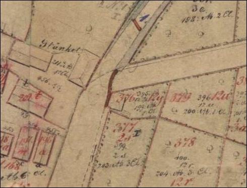 """Plan um 1900.In diesem Gemarkungsplan um 1900 steht links das Gasthaus Stünkel.In der Straßenecke das vermutliche """"Zoll- oder Wegehaus"""" zu erkennen"""