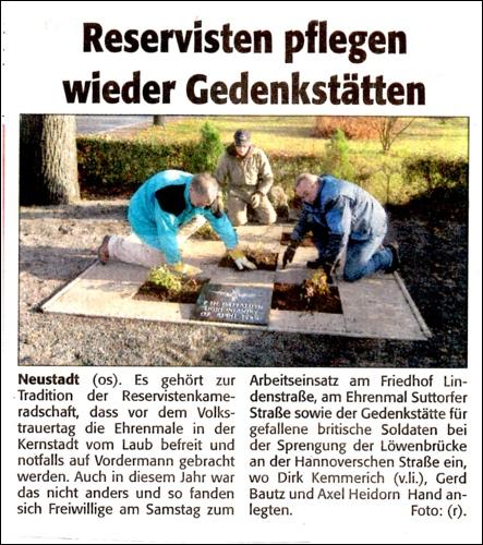 Zeitungsartikel aus derNeustädter Zeitung 21.11.2012