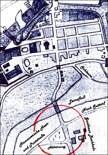 Skizze von vor 1770:Rechts der Dammkrug, der nach dem Rezess von 1753 entstanden war