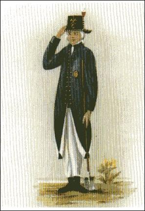 """Chausseewärter, Ende des 18. Jahrhunderts, in Sommeruniform und in Winteruniform (Aus """"Es begann mit 12.000 Talern"""")"""