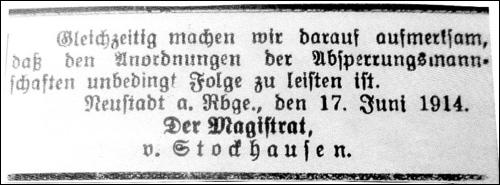 Anmerkung von Stockhausen, Bürgermeister der Stadt Neustadt am Rübenberge