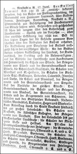 Leinezeitung vom 17. Juni 1914 – Ausschnitt.Die Anordnung endete mit dem Wunsch nach reger Beteiligung undprächtigem Kaiserwetter