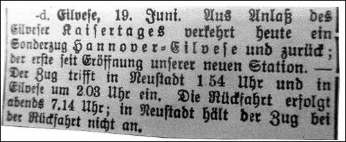 Zur Feier des Tages wurde ein Sonderzug von Hannover nach Eilvese eingerichtet (Anzeige Eilvese 19.Juni)