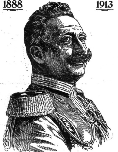 """Abbildung von Kaiser Wilhelm 2 (aus """"die Harke"""", Nienburg 1913)"""