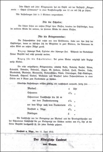 Anweisungen des Landrats von Woyna