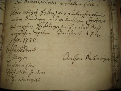 Unterschrift von Anton Christian Kallmeyer unter dem Vertrag als Kellerwirt
