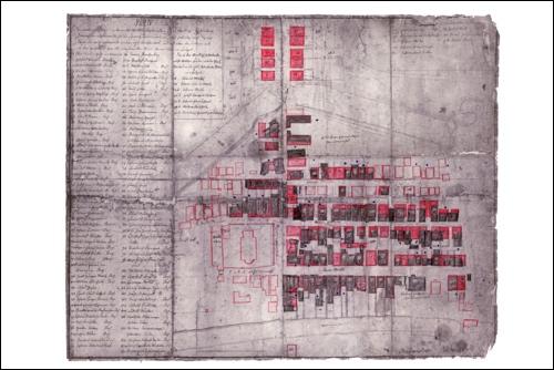 Karte des Großen Brandes von 1727mit der geplanten Neuordnung des Straßensystems. Rechts schwach erkennbar eine Häuserzeile