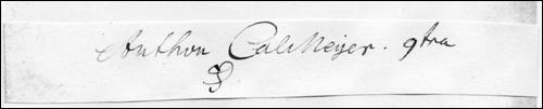 Ausschnitt eines Vermerks mit Unterschrift von Anthon Kallmeyer