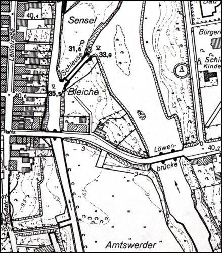 """"""" Zwischen den Brücken""""In einem Vermessungsplan von 1959"""