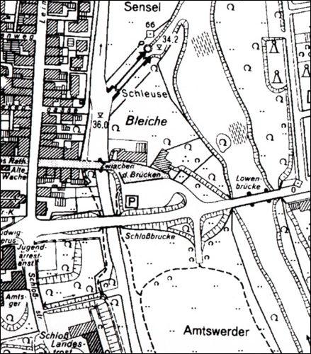 """""""Zwischen den Brücken"""" in einem Plan von circa 2000, jetzt mit Herzog- Erich- Allee und neuer Brücke über die Kleine Leine."""