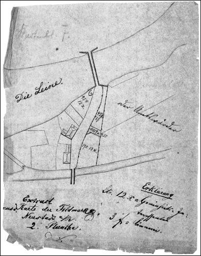Lageplanausschnitt der wichtigen Verkehrsader durch Neustadt