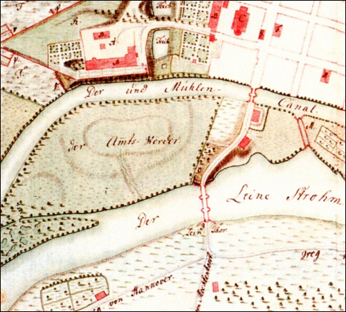 Plan des in Neustadt /Rübenberge tätigen Leutnants und Kartographen Fescas von 1757