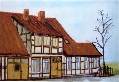 Aquarell von R. Müller und I. Buuk: So haben Rita Müller und Inge Buuk das Haus in den 60er Jahren gesehen. (ARH Sammlung Hotes)