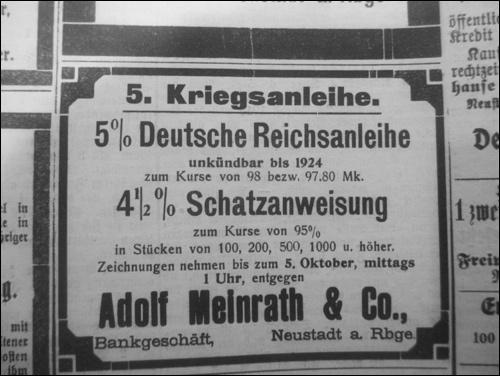 Kriegsanleihe für den erste Weltkrieg. (Anzeige in der Leinezeitung 1916)
