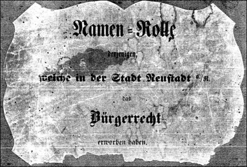 Titelblatt der Original-Namenrolle (Archiv der Region Hannover)