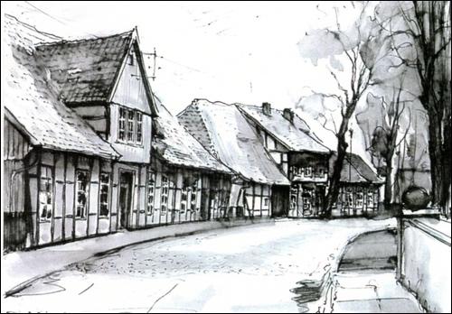 """Zeichnung des Neustädter Malers Sackewitz: """"Zwischen den Brücken"""""""