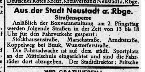 Anzeige für die Berufsboxveranstaltung i Neustadt am Rübenberge. Straßen werden für die Veranstaltung gesperrt.