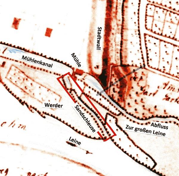 """Der Plan von Fesca aus 1757 zeigt den """"Sandschleusen- Graben"""" vor der Mühle"""