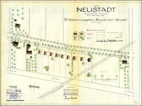 Bebauungsplan Wunstorfer Str:Ein Bebauungsplan aus 1949 zwischen Wunstorfer Straße und Eisenbahnder wohl nicht umgesetzt wurde.
