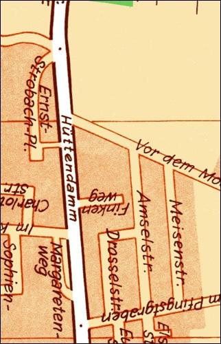 1950: Teil des Bebauungsplans Am Pfingstgraben