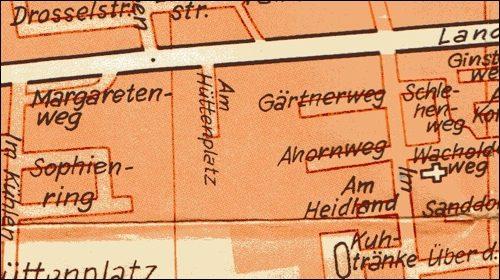 """Stadtplan von 1974: Gärtnerweg, damals""""Bei der Hütte"""" .Hier waren zunächst 13 Einfamilienhäuser vorgesehen."""